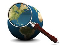 Earth and magnify glass. 3d illustration of earth and magnify glass, icon, background Royalty Free Stock Image