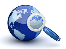 Earth and Magnifying Glass Stock Image