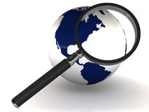 Earth with magnifying glass. Earth under a magnifying glass, white background, concept of global search and looking at global issues in detail Stock Photography
