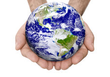 Earth in A Male Hand Stock Images