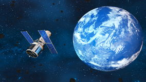 Earth and man-made satellite Royalty Free Stock Photos