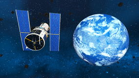 Earth and man-made satellite Royalty Free Stock Photography
