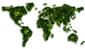 Earth - map. Earth. map. Green laurel on Earth. Leaves background Royalty Free Stock Photos