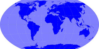 Earth map. Winkle projection with grids Stock Photography