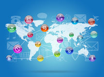 Earth map and application icons Stock Images