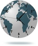 Earth map with clock face  on white Stock Photo