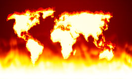 Earth map fire. An illustration of an earth on fire map Stock Photography