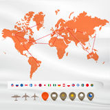 Earth map with flags and signs Royalty Free Stock Photos