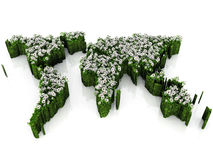 Earth map with flowers and grass Royalty Free Stock Photo