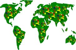Earth map with fruits. Vision of a vegan world Royalty Free Illustration