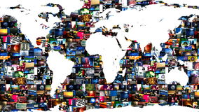 Earth Map Global Media Video Wall stock footage