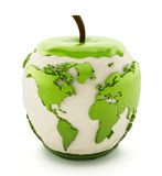 Earth map on half eaten green apple Stock Image