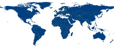 Earth map isolated. The map includes the national borderlines of all countries Royalty Free Stock Photos