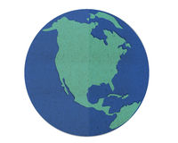 Earth map, paper cut and paste. Royalty Free Stock Image