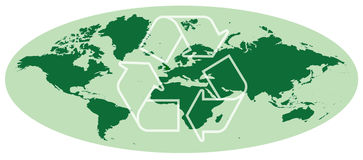 Earth map with recycling symbol Stock Photography