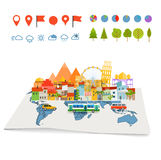Earth maps map and different buildings and transport Royalty Free Stock Photos