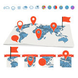 Earth maps set with pins and charts Royalty Free Stock Photos
