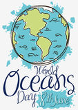 Earth with Marine Fauna in Doodle Style for Oceans Day, Vector Illustration. Poster in hand drawn style with Earth planet, waves and marine fauna for World Stock Photo
