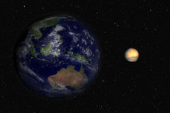 Earth and Mars. On a stars background. Computer generated Royalty Free Stock Images