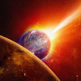 Earth and Mars. Abstract scientific background - glowing planet earth and mars in space, comet approaches planet earth, red sun. Elements of this image furnished Royalty Free Stock Image