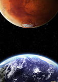 Earth and mars in space Royalty Free Stock Image