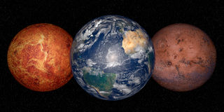 Earth, mars and venus Royalty Free Stock Images