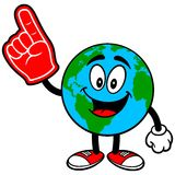Earth Mascot with Foam Finger Stock Photos