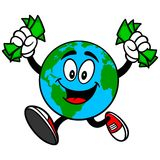 Earth Mascot with Money Stock Photos