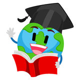 Earth Mascot reading a Book Royalty Free Stock Photography