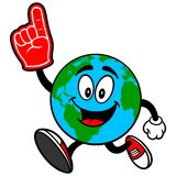 Earth Mascot Running with a Foam Finger Royalty Free Stock Photo