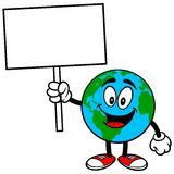 Earth Mascot with Sign Stock Photo
