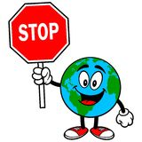 Earth Mascot with Stop Sign Stock Images