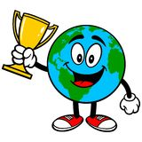 Earth Mascot with Trophy Stock Images