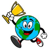 Earth Mascot with Trophy Stock Photography