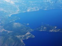 Earth and mediterranean sea view out of plane Royalty Free Stock Photography