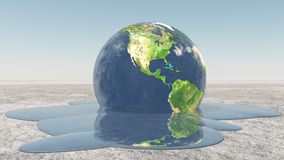 Earth melting into water Stock Photos