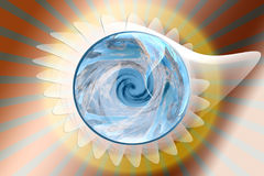 Earth metaphor. Metaphor of the planet earth in a fossil with blue water color in sunrise background Stock Photo