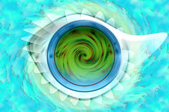 Earth metaphor. Metaphor of the planet earth with spiral mix with a fossil with blue water color in water background Stock Photos