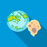 Earth and meteorite icon in flat style. On a sky blue background Stock Photos