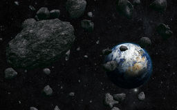 Earth and meteorite. View of the planet Earth from space during meteorite impact Royalty Free Stock Images