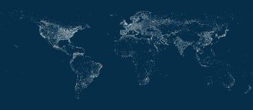 Earth miasta świateł mapa na miękkim ciemnym tle ilustracja wektor