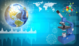Earth, microscope and model of molecule. Science Stock Photo