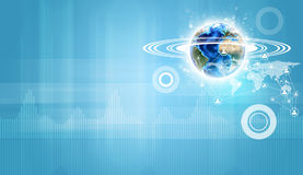 Earth model with circles around and connection net Stock Image