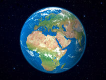 Earth Model From Space: Europe View Stock Image