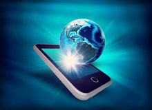 Earth model on mobile at angle Stock Images