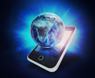 Earth model on mobile at right angle Royalty Free Stock Photo