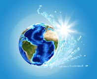 Earth model with ocean wave Stock Image