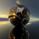 Earth model with reflection on the background Royalty Free Stock Image