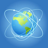 Earth model with satellites Stock Photo