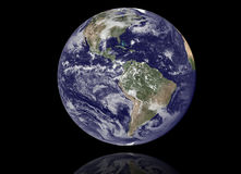 Earth Model: USA View. High resolution 3D render of Planet Earth. Shaded relief, natural colors, clouds cover royalty free stock photos